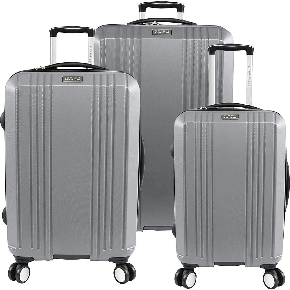 Perry Ellis Kaper Hardside Spinner 3-Piece Luggage Set Silver - Perry Ellis Luggage Sets