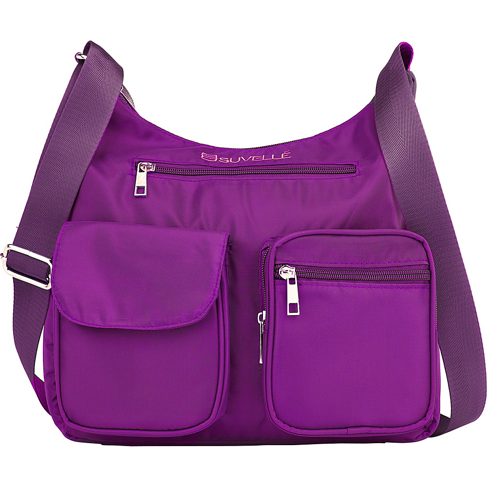 Suvelle Carryall RFID Travel Everyday Shoulder Bag Eggplant Suvelle Fabric Handbags