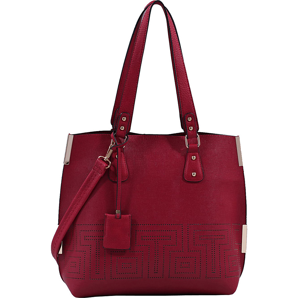 MKF Collection by Mia K. Farrow Lizzy Mazed Tote Bag with Removable Cosmetic Pouch Burgundy - MKF Collection by Mia K. Farrow Manmade Handbags - Handbags, Manmade Handbags