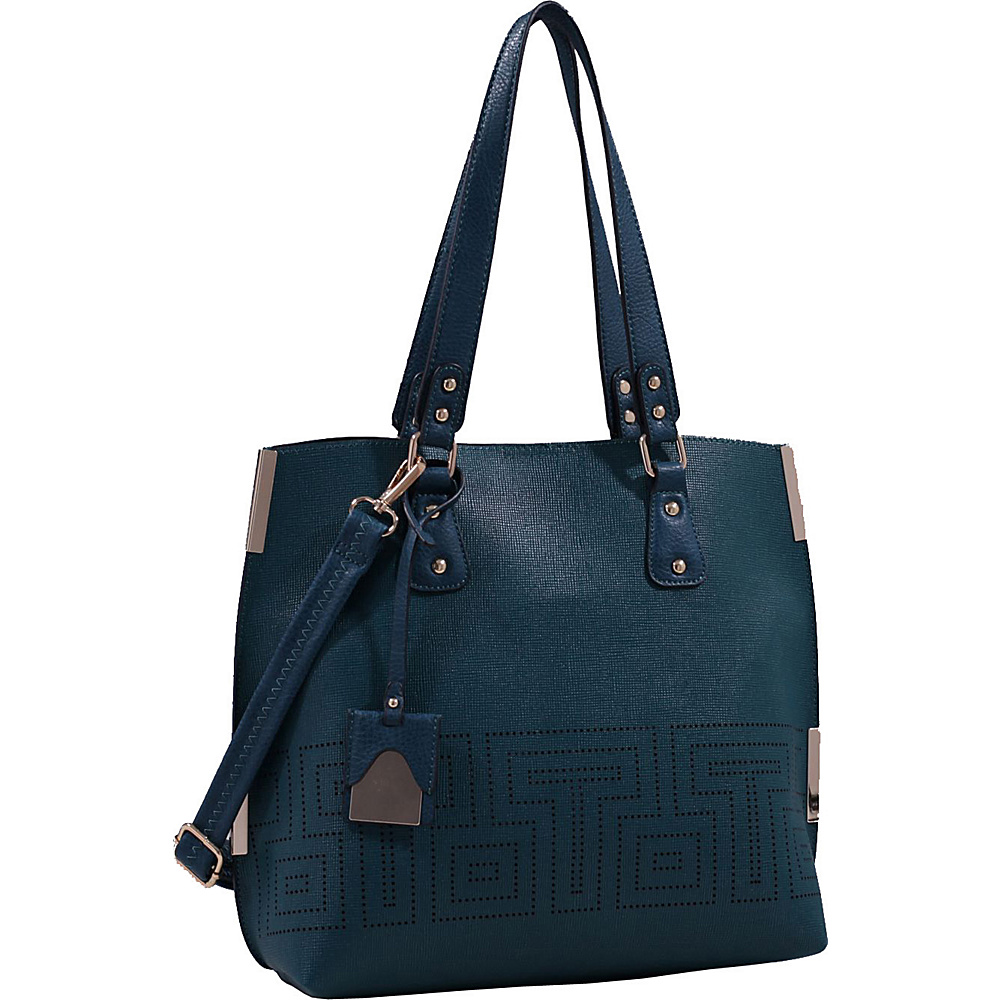 MKF Collection by Mia K. Farrow Lizzy Mazed Tote Bag with Removable Cosmetic Pouch Dark Green - MKF Collection by Mia K. Farrow Manmade Handbags - Handbags, Manmade Handbags