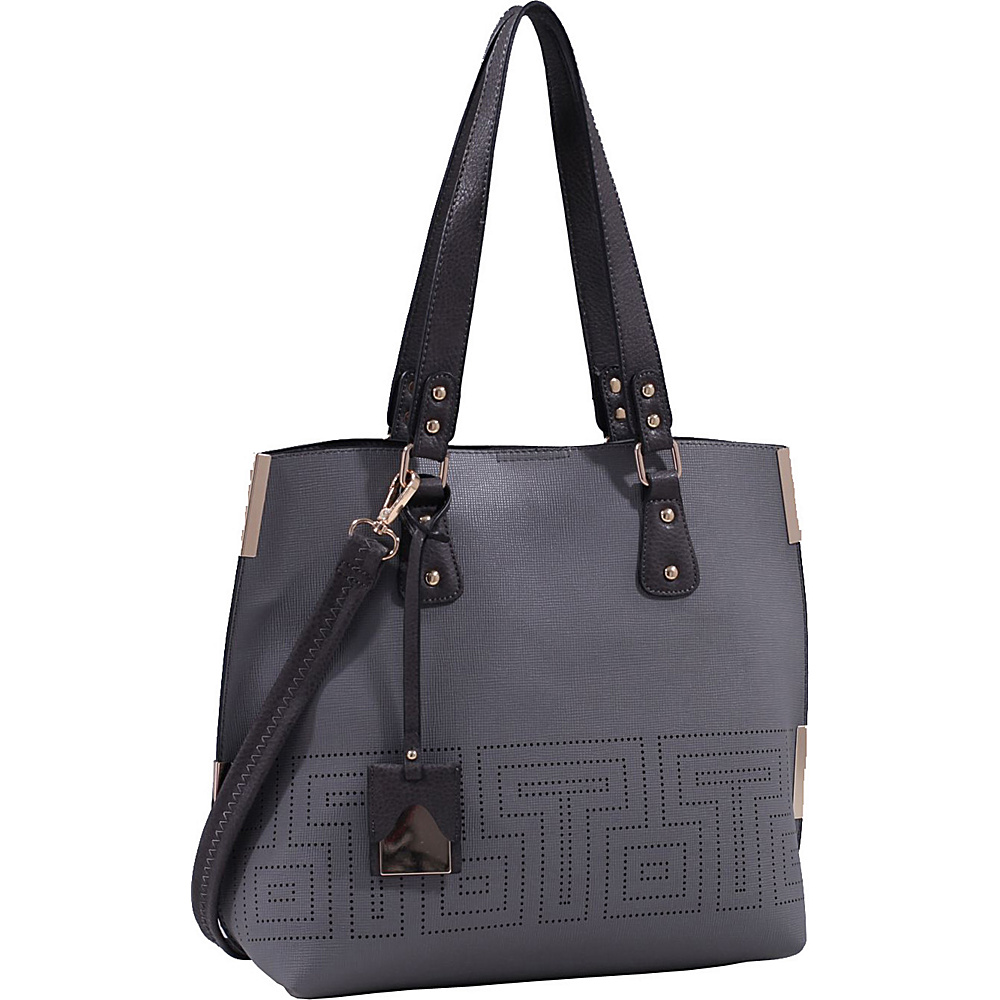 MKF Collection Lizzy Mazed Tote Bag with Removable Cosmetic Pouch Grey - MKF Collection Manmade Handbags - Handbags, Manmade Handbags