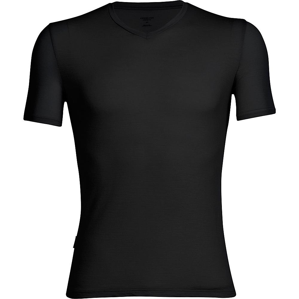 Icebreaker Mens Anatomica SS V-Neck Shirt S - Black - Icebreaker Mens Apparel - Apparel & Footwear, Men's Apparel