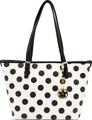 Bueno Two Tone Tote White Black Dots - Bueno Manmade Handbags