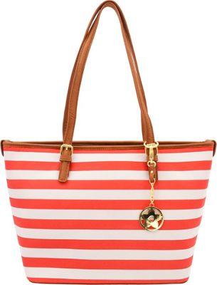 Bueno Two Tone Tote Dark Coral & White Strip - Bueno Manmade Handbags