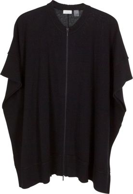 Kinross Cashmere Zip Front Poncho One Size  - Black - Kinross Cashmere Women's Apparel 10491314