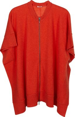 Kinross Cashmere Zip Front Poncho Foxtail - Kinross Cashmere Women's Apparel