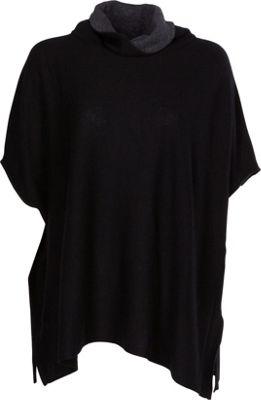 Kinross Cashmere Contrast Cowl Poncho S/M - Black/Charcoal - Kinross Cashmere Women's Apparel 10491372