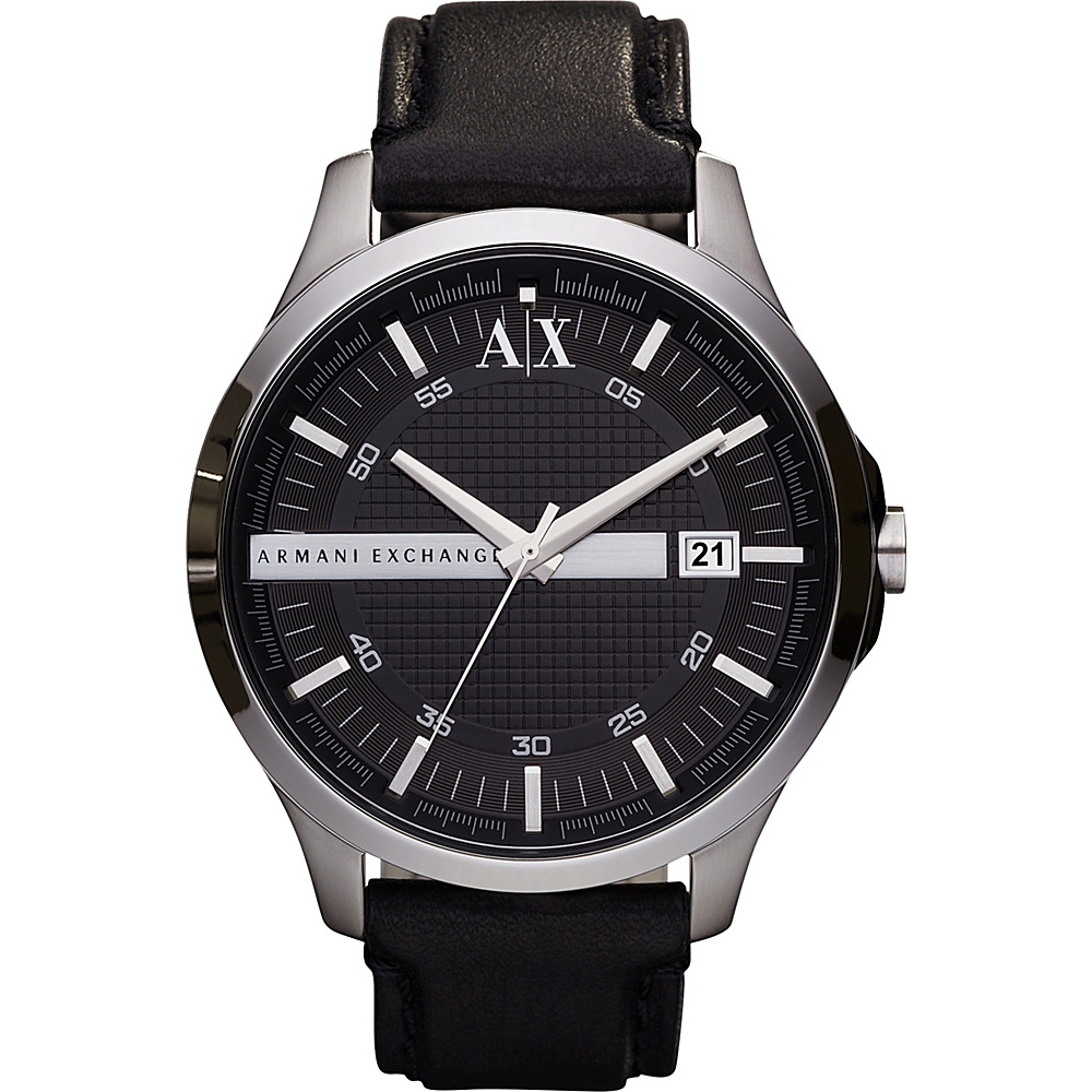 A X Armani Exchange Smart Leather Watch Black A X Armani Exchange Watches