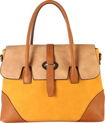 Diophy Three Tone Faux Leather Handbag Yellow - Diophy Manmade Handbags