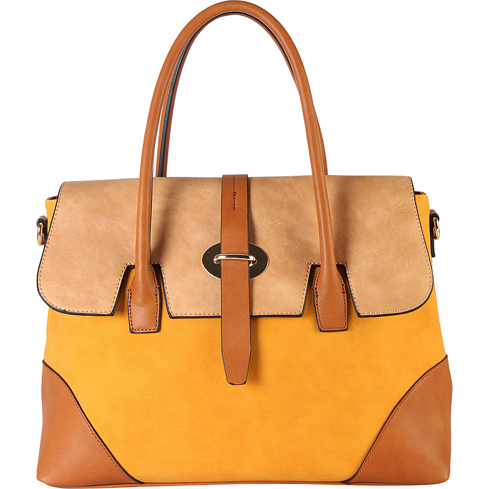 Diophy Three Tone Faux Leather Handbag Yellow Diophy Manmade Handbags