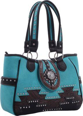 Epic Chic Abby Western Handbag Turquoise - Epic Chic Manmade Handbags