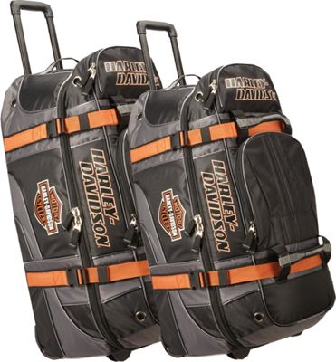 Harley Davidson by Athalon Harley Davidson 2Pc Set 22 inch/33 inch Wheeled Equipment Duffels Black - Harley Davidson by Athalon Rolling Duffels