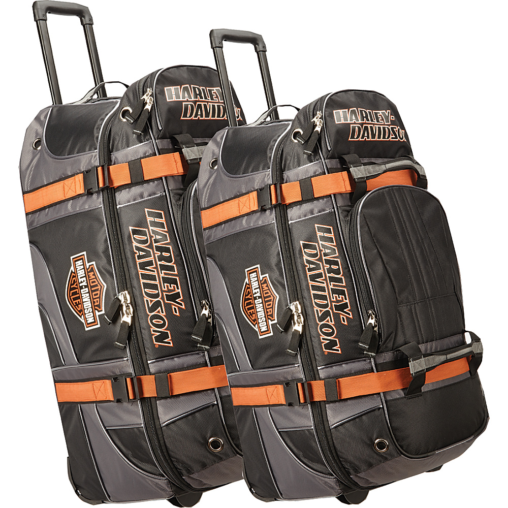 Harley Davidson by Athalon Harley Davidson 2Pc Set 22 33 Wheeled Equipment Duffels Black Harley Davidson by Athalon Rolling Duffels