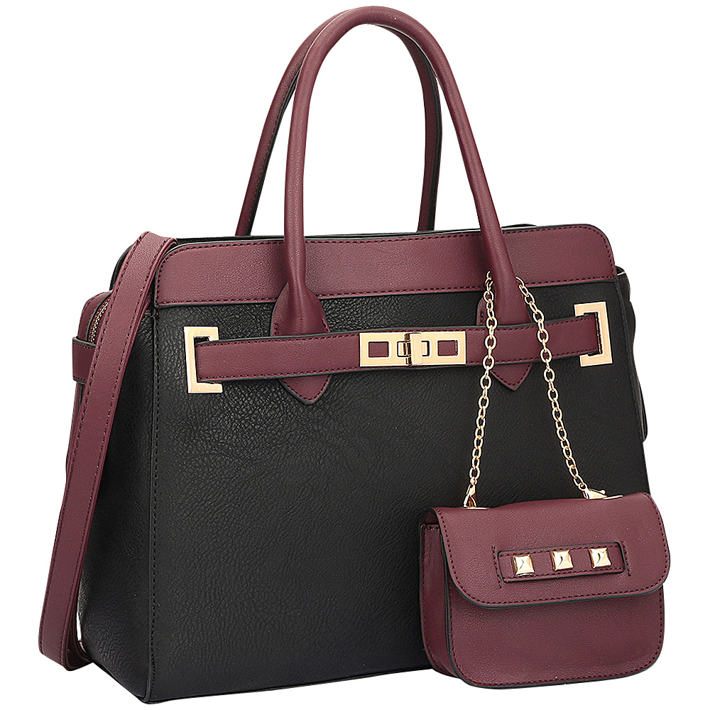 Dasein Dasein Faux Leather Padlock Satchel & Coin Purse Black - Dasein Manmade Handbags - Handbags, Manmade Handbags