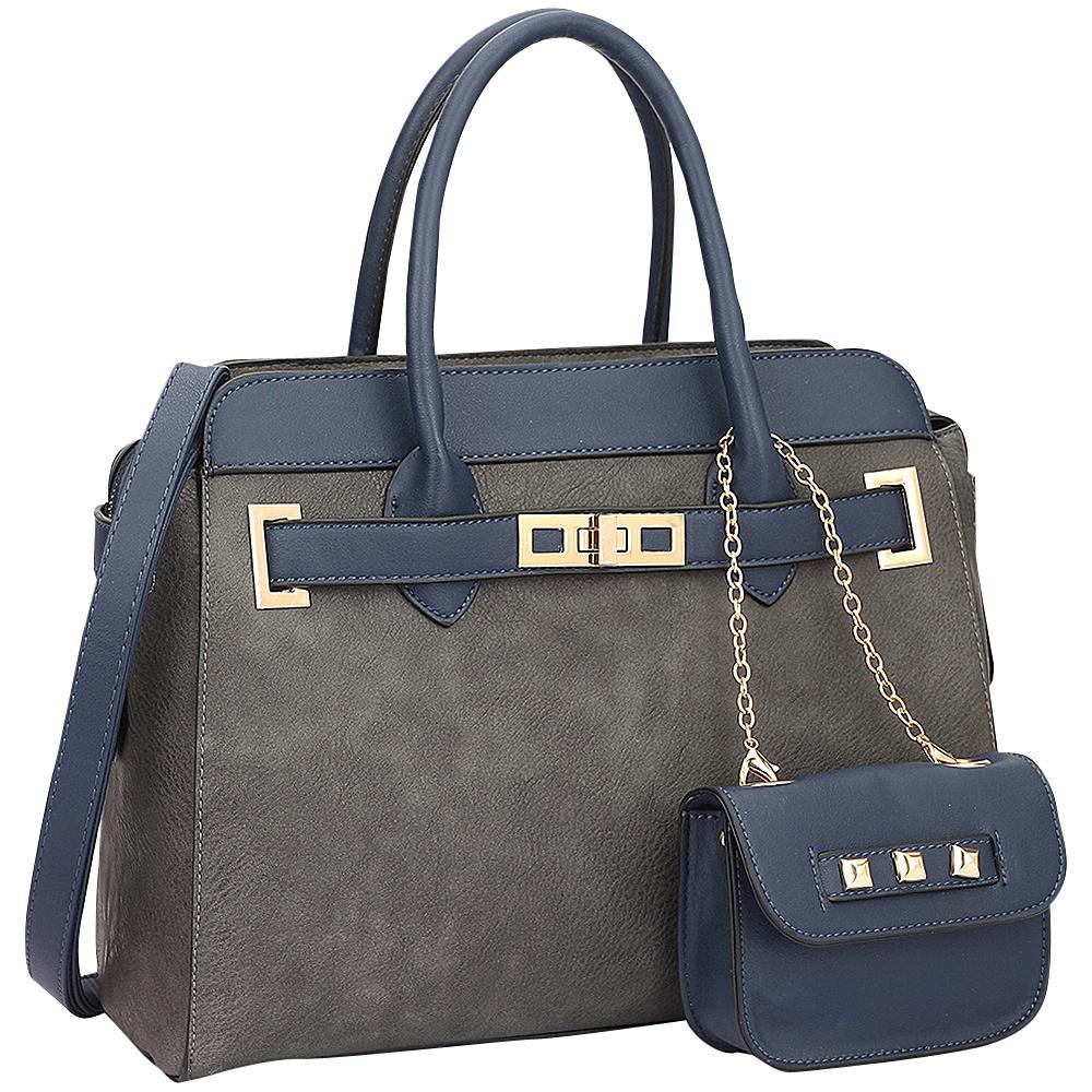 Dasein Dasein Faux Leather Padlock Satchel & Coin Purse Grey - Dasein Manmade Handbags - Handbags, Manmade Handbags