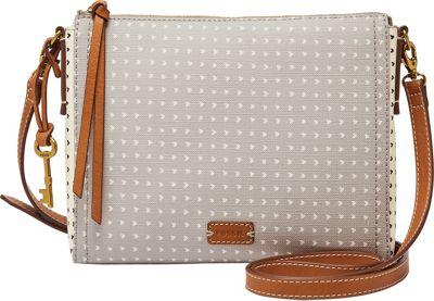 Fossil Emma EW Crossbody Grey/White - Fossil Leather Handbags