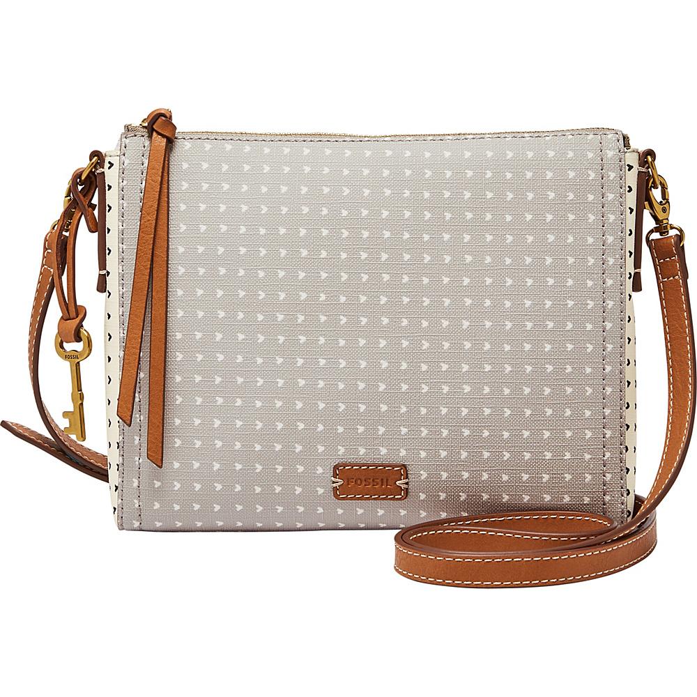 Fossil Emma EW Crossbody Grey/White - Fossil Leather Handbags - Handbags, Leather Handbags