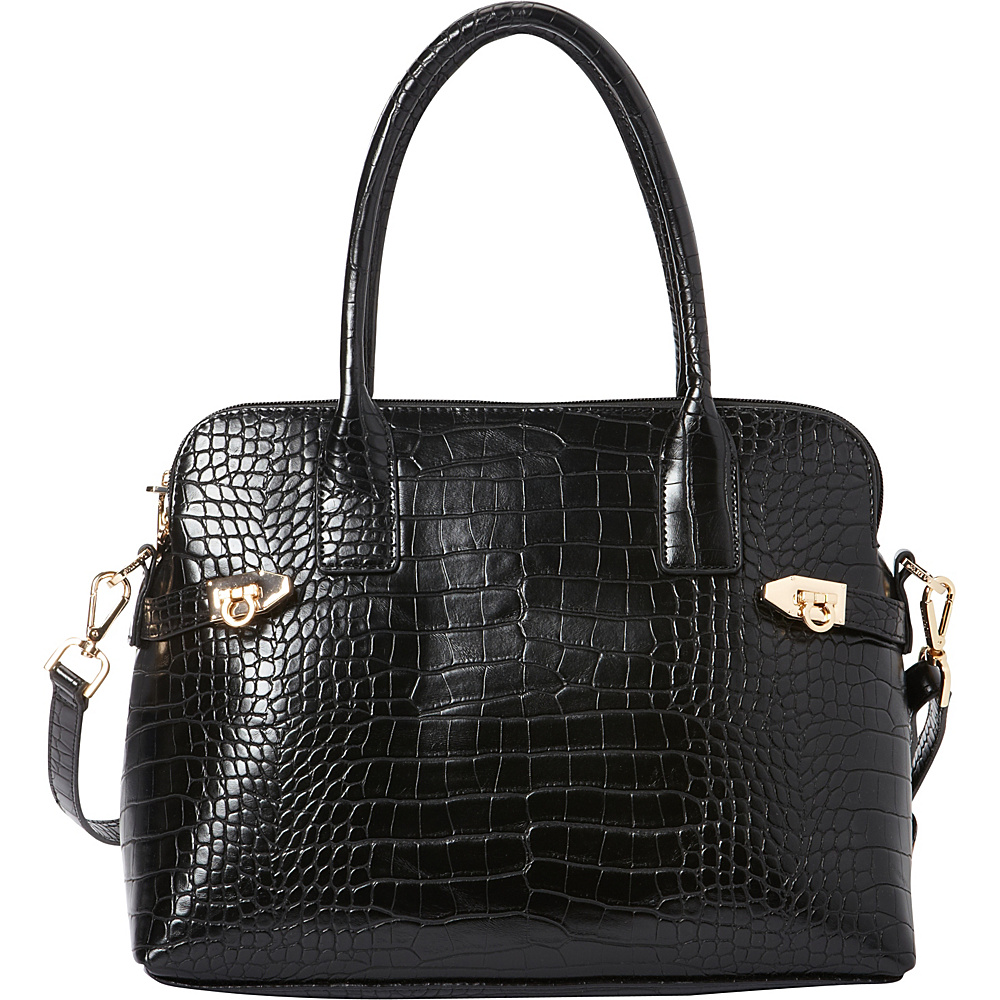 La Diva Aria Croco Shoulder Bag Black Croco La Diva Manmade Handbags