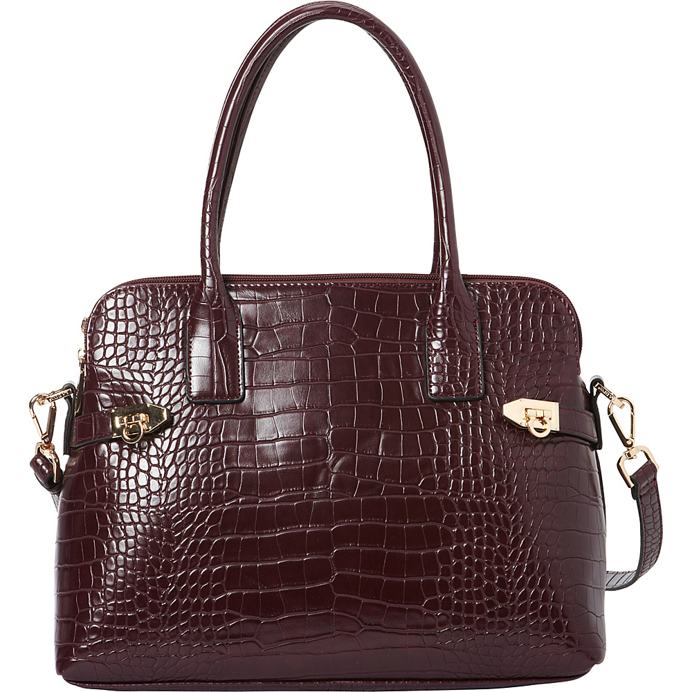 La Diva Aria Croco Shoulder Bag Bordeaux Croco La Diva Manmade Handbags