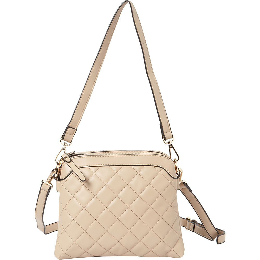 La Diva Maia Mini Quilted Crossbody Taupe La Diva Manmade Handbags