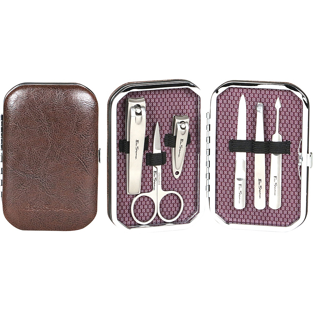 Ben Sherman Luggage Edgware Collection 6 Piece Personal Grooming Set with Carrying Case Brown Ben Sherman Luggage Travel Health Beauty