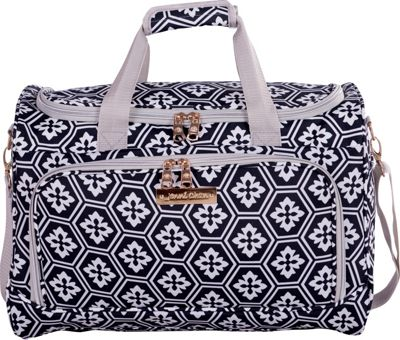 Jenni Chan Aria Snow Flake 17 inch Duffel Bag Black and White - Jenni Chan Rolling Duffels