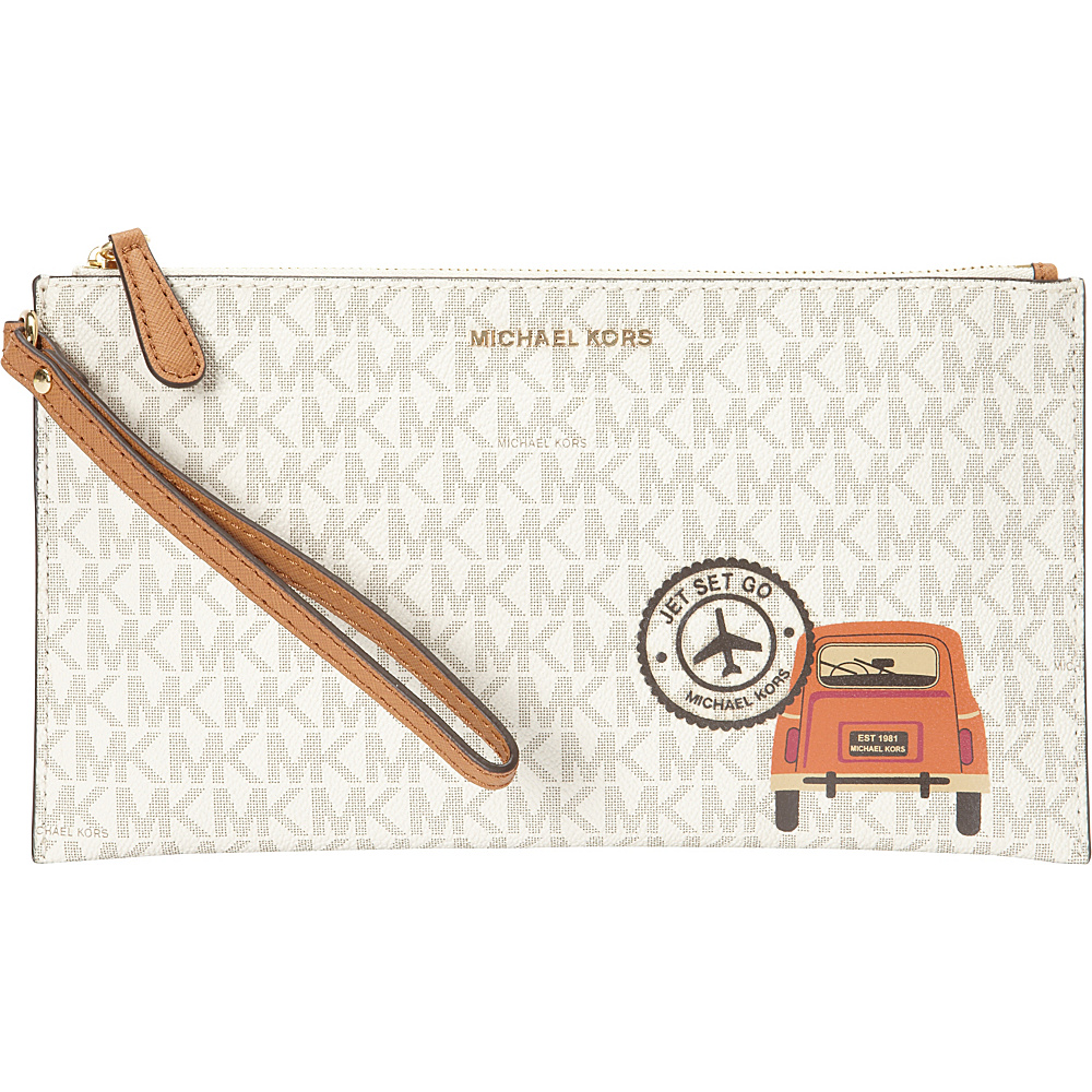 MICHAEL Michael Kors Illustrations Drive Away Large Zip Clutch Vanilla/Acorn - MICHAEL Michael Kors Designer Handbags