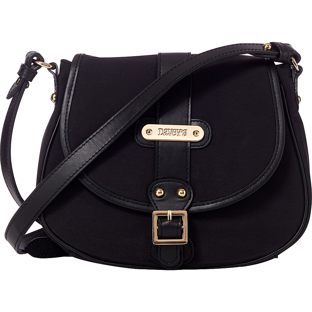 Davey s Crossbody Saddlebag Black Davey s Fabric Handbags