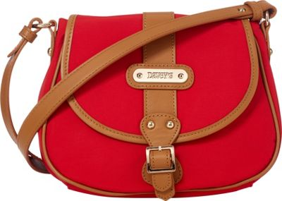 Davey's Crossbody Saddlebag Red - Davey's Fabric Handbags