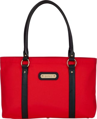Davey's Large Tote Red/Black Leather - Davey's Fabric Handbags