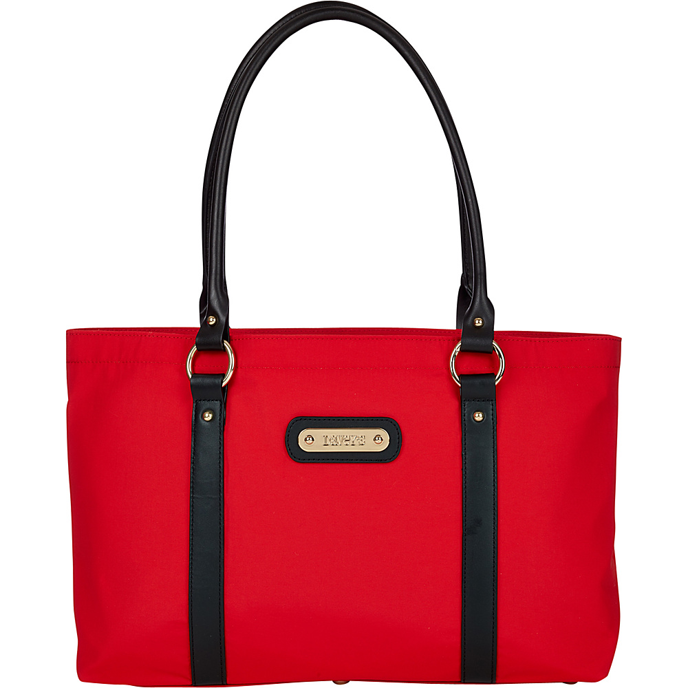 Davey s Large Tote Red Black Leather Davey s Fabric Handbags