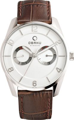 Obaku Watches Mens Multifunction Leather Watch Brown/Silver - Obaku Watches Watches