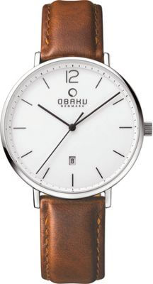 Obaku Watches Mens Ceramic Leather Watch Brown/White - Obaku Watches Watches
