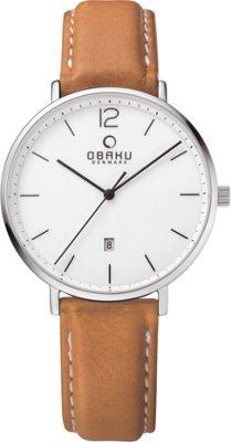Obaku Watches Mens Ceramic Leather Watch Light Brown/White - Obaku Watches Watches