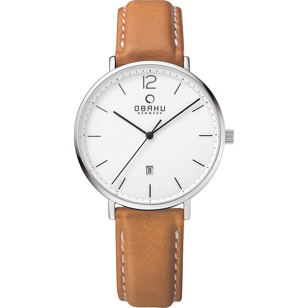 Obaku Watches Mens Ceramic Leather Watch Light Brown White Obaku Watches Watches