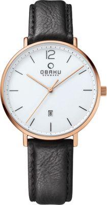 Obaku Watches Mens Ceramic Leather Watch Black/Rose Gold - Obaku Watches Watches