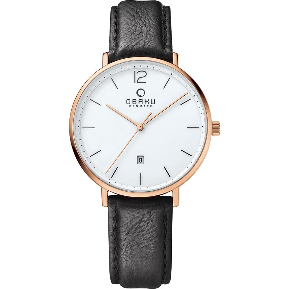 Obaku Watches Mens Ceramic Leather Watch Black Rose Gold Obaku Watches Watches