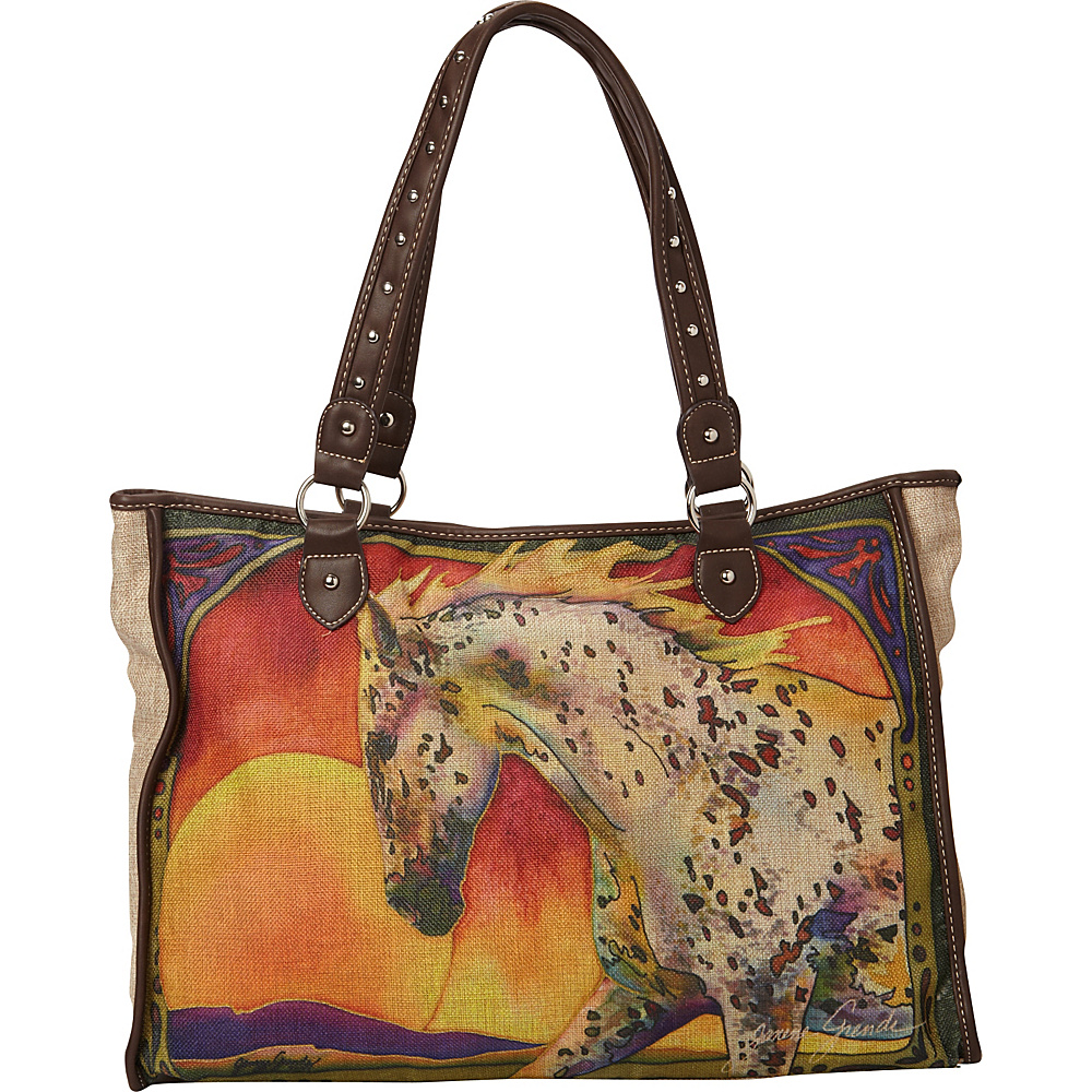 Montana West Horse Art Canvas Tote Bag Coffee Montana West Fabric Handbags