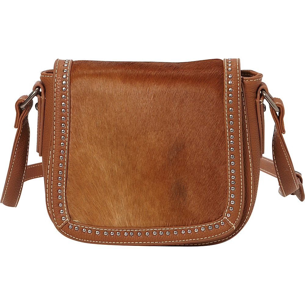 Montana West Genuine Hair On Messenger Bag Brown Montana West Leather Handbags
