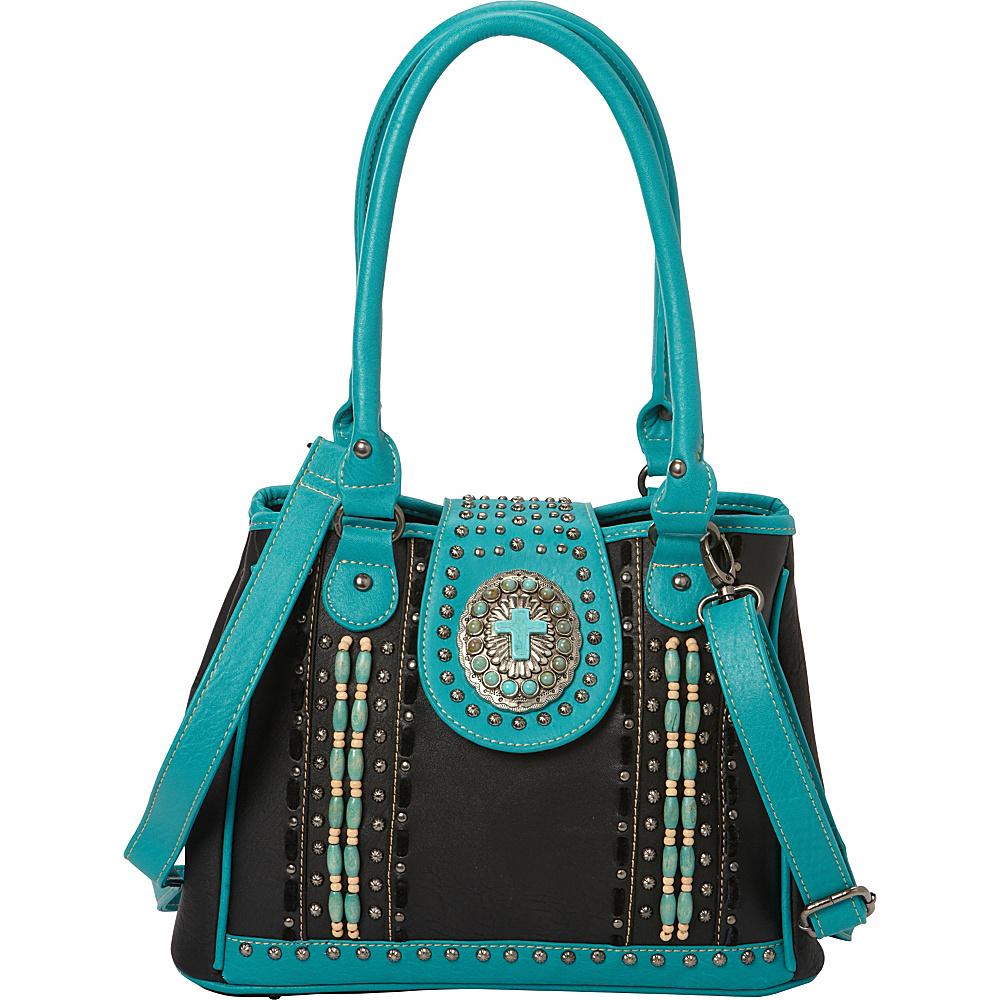 Montana West Spiritual Satchel Bag with Beads Black Montana West Manmade Handbags
