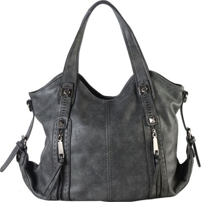 Diophy Double Front Pockets Hobo Grey - Diophy Manmade Handbags