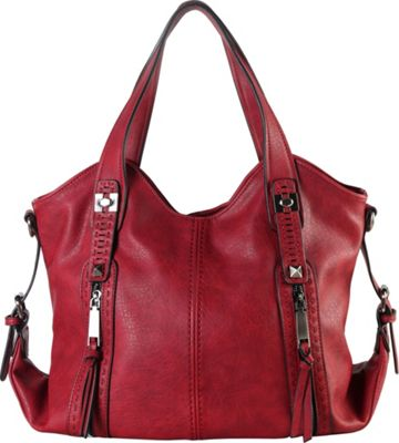 Diophy Double Front Pockets Hobo Wine - Diophy Manmade Handbags