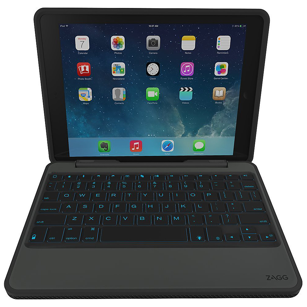 Zagg Rugged Durable Hinged Backlit Keyboard for iPad Air 2 Black Zagg Electronic Cases