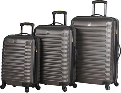 LUCAS Treadlite 3pc Spinner Luggage Set Charcoal - LUCAS Softside Checked
