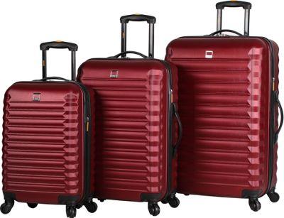 LUCAS Treadlite 3pc Spinner Luggage Set Burgundy - LUCAS Softside Checked
