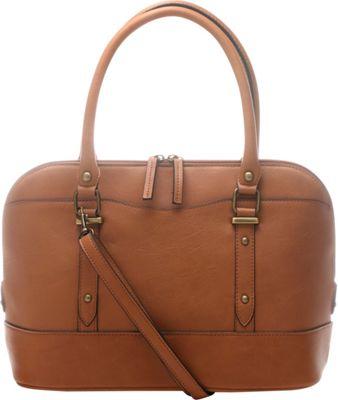 Emilie M Emma Dome Satchel Cognac - Emilie M Manmade Handbags