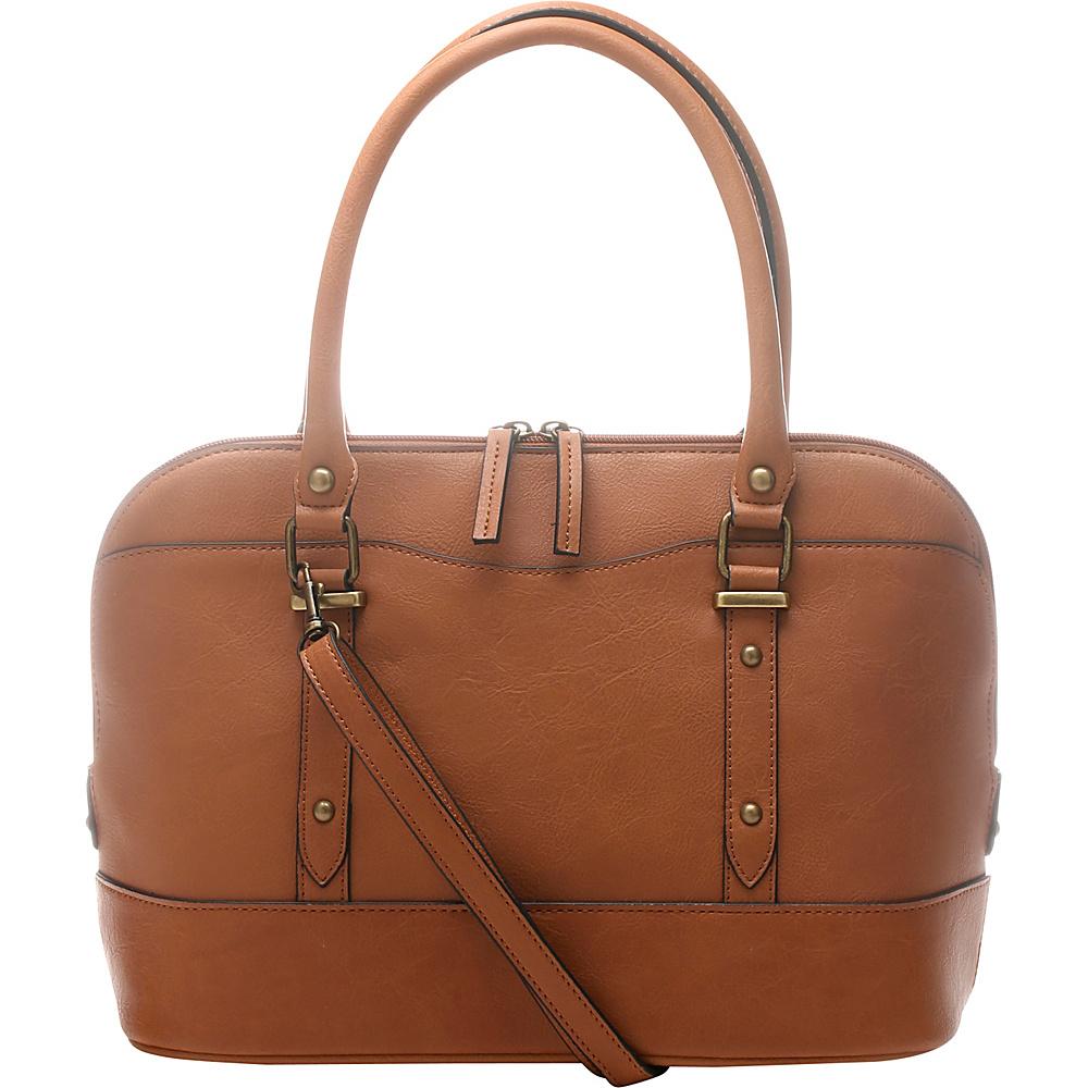 Emilie M Emma Dome Satchel Cognac Emilie M Manmade Handbags