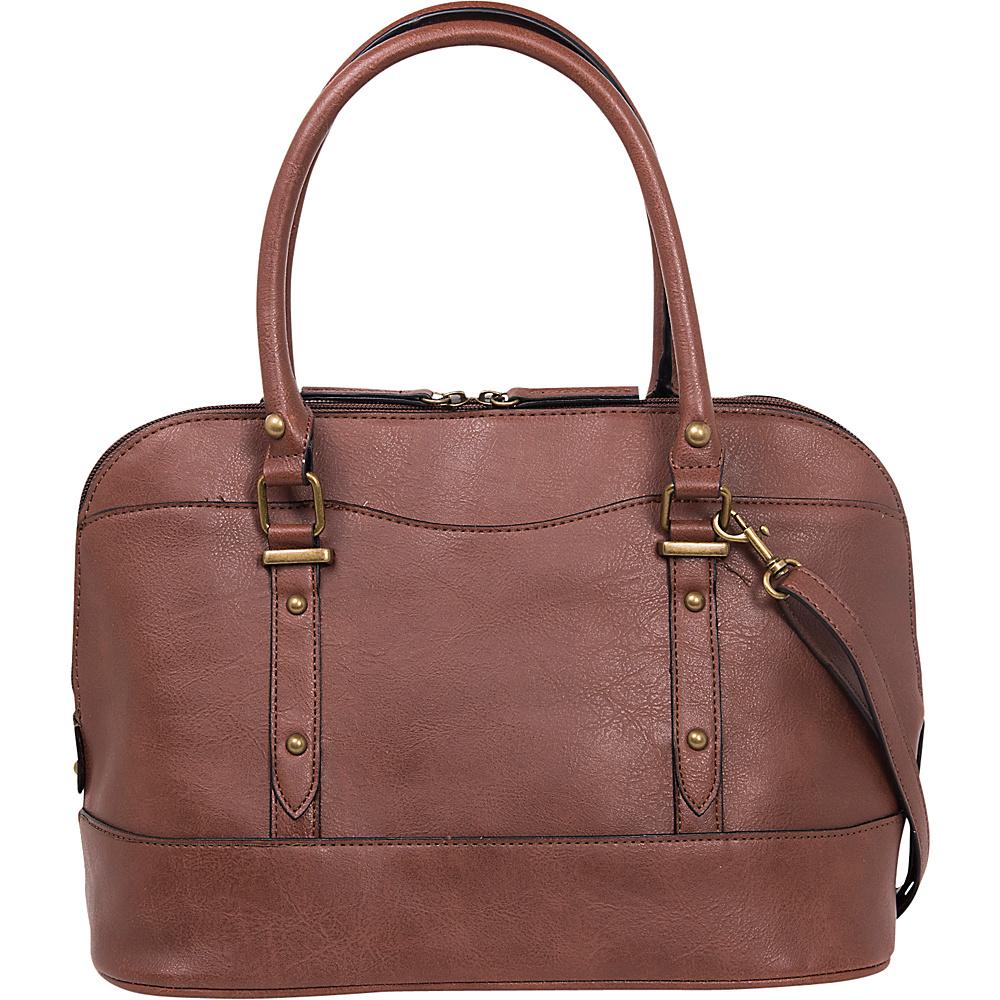 Emilie M Emma Dome Satchel Nutmeg Emilie M Manmade Handbags