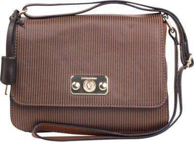 London Fog Handbags Strattford Crossbody Flap Nutmeg Stripe - London Fog Handbags Manmade Handbags