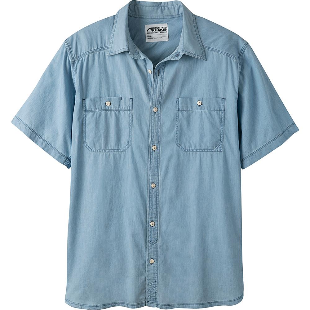 Mountain Khakis Ace Indigo Short Sleeve Shirt S - Light Indigo - Mountain Khakis Mens Apparel - Apparel & Footwear, Men's Apparel